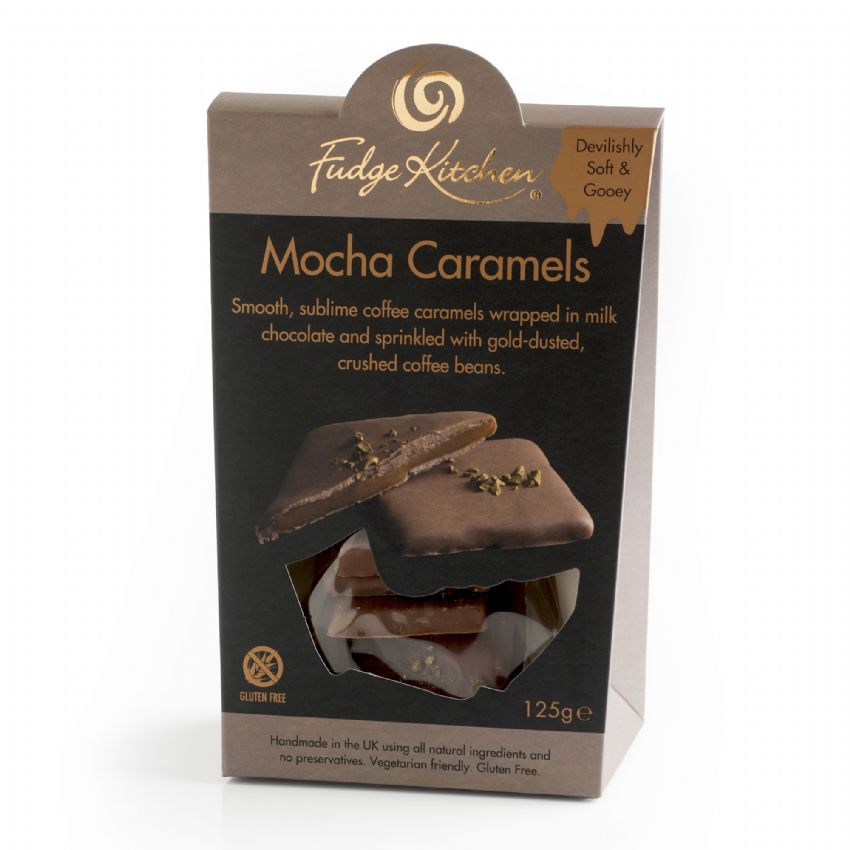 Mocha Coffee Caramels In Milk Chocolate  By Fudge Kitchen 125g
